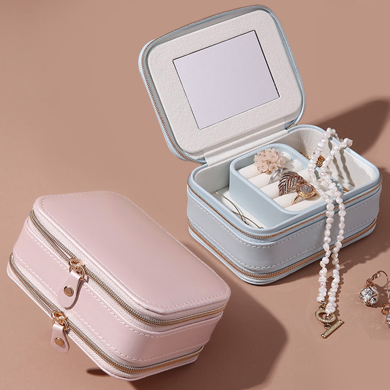 Girl Earring PU Jewelry Box Women Protable Necklaces Stud Earrings Rings Lipsticks Chokers Multi function Jewelry