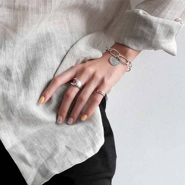 Luxury Brand Fancy  Silver Color  Hollow Chains Rings for Women Antique Rings Wedding Jewelry Valentines Gifts 4
