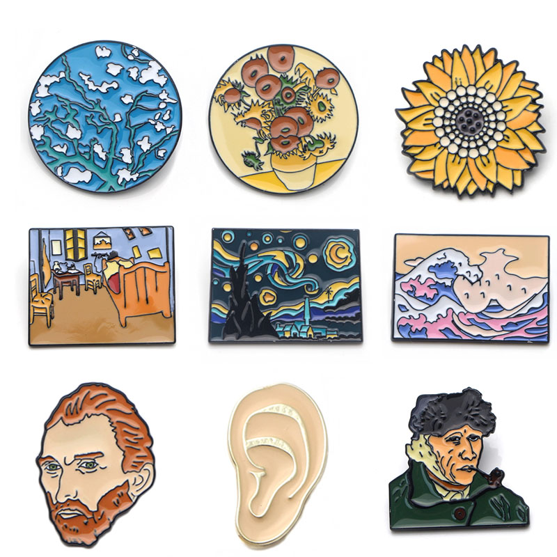 K339 Fashion Van Gogh Art Enamel Pin Collection Art Oil Painting Brooches For Women Lapel Pins Badge Collar Jewelry 1pcs