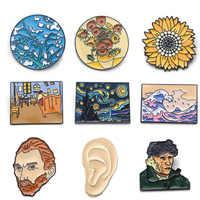 K339 Mode Van Gogh Kunst Emaille Pin Sammlung Kunst Ölgemälde Broschen für Frauen Revers Pins Abzeichen Kragen Schmuck 1 stücke