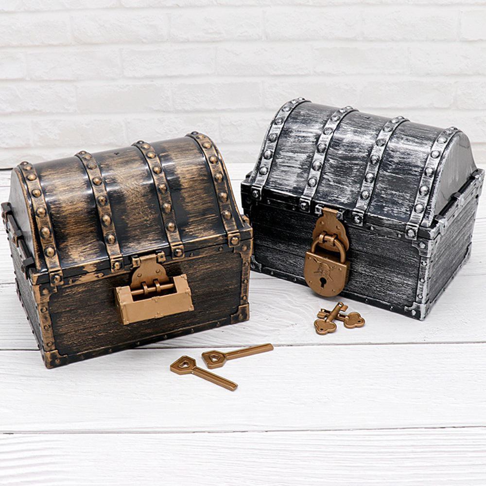 Pirate Treasure Hunting Box & 2 Lock Children Treasure Box Retro Plastic Large Storage Boxes Toy Jewelry Playset Pack Kid Gift