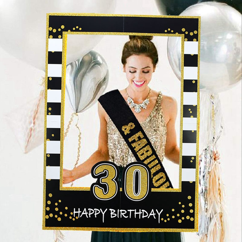 1st 30th 40th 50th <font><b>60th</b></font> <font><b>Birthday</b></font> Photo Booth Frame Kids Adult <font><b>Birthday</b></font> Party <font><b>Decoration</b></font> Paper Happy <font><b>Birthday</b></font> Photo Props Frame image
