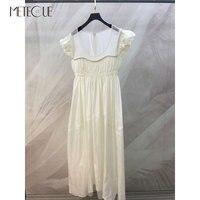 100% Silk White Summer Dress 2020 Spring Summer Fashion Short Sleeve High Waisted Dress 2020 Summer