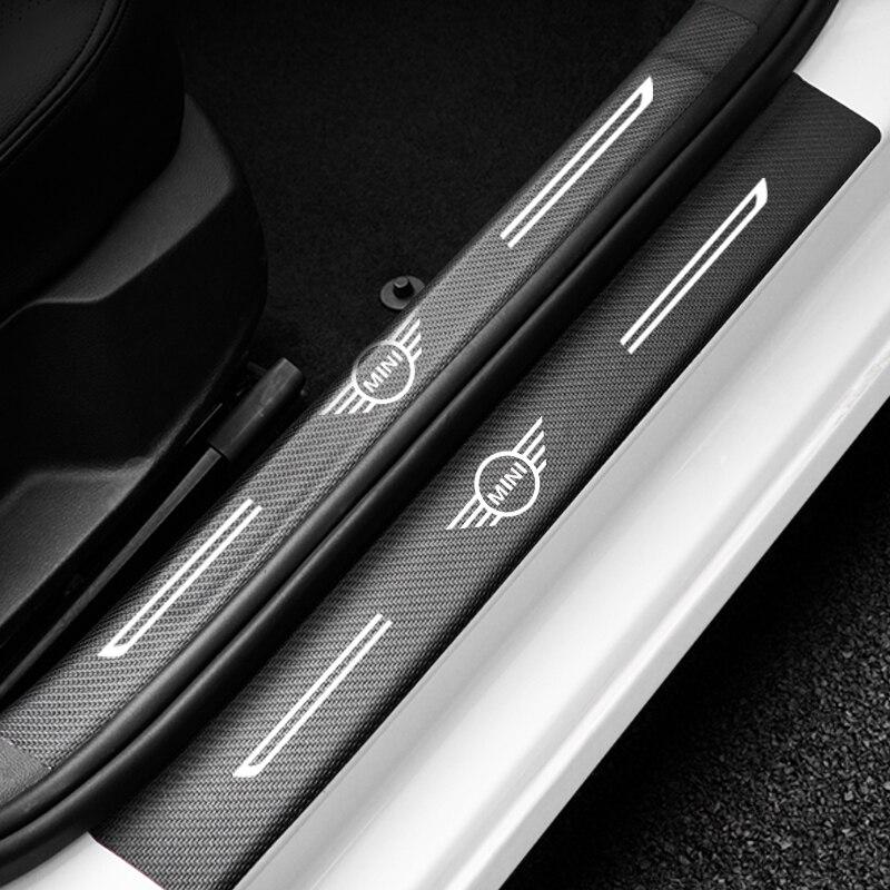4Pcs Car Door Threshold Sill Protective Stickers For Mini Cooper S R50 R52 R53 R55 R55 R55 R56 R57 R58 R59 R60 Auto Accessories
