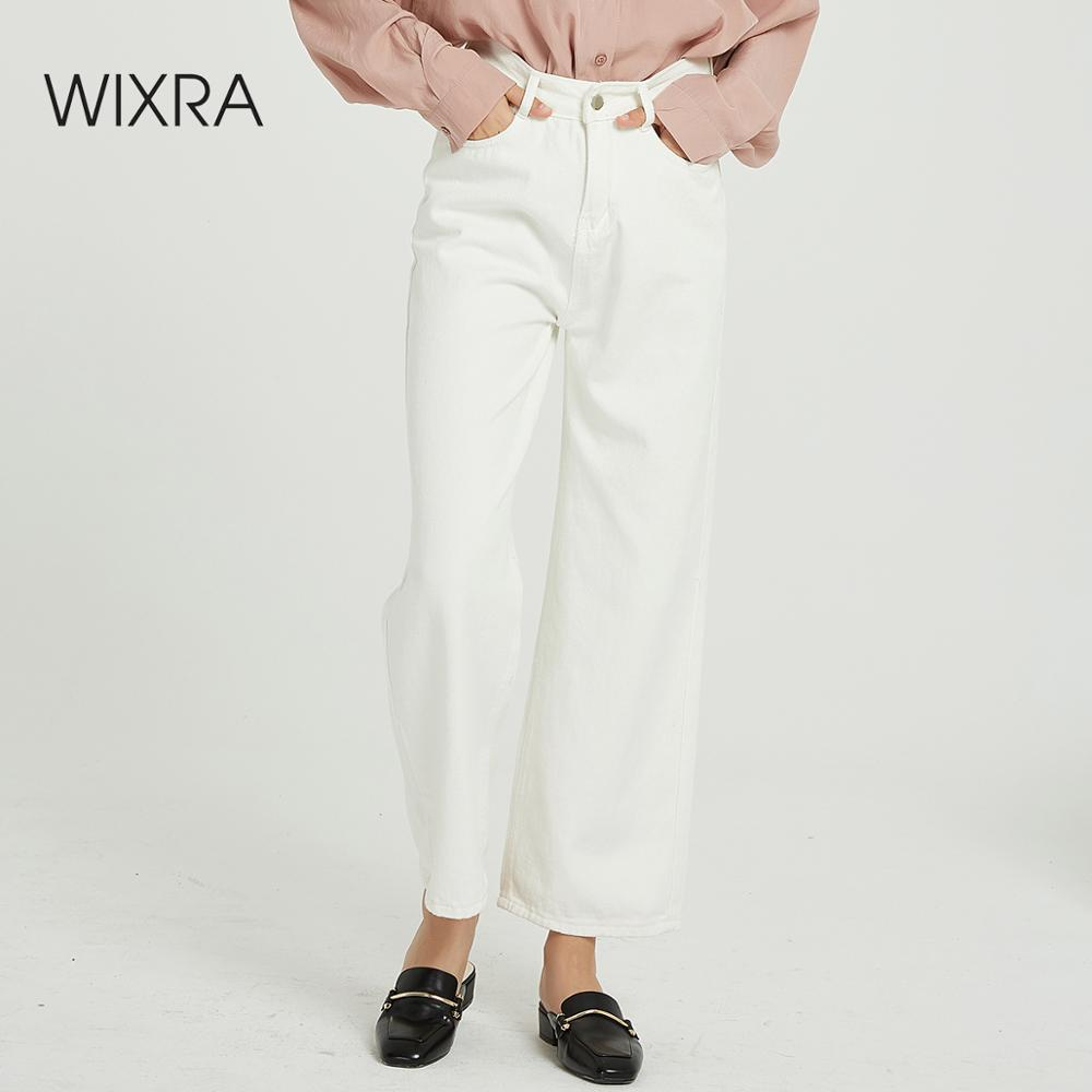 Wixra Women's Wide Leg Pants Pockets Stylish Loose White Solid High Waist All Base Match Long Trousers Spring Autumn