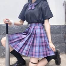 Feminino roxo preto gótico plissado xadrez saia verão de cintura alta harajuku coreano japonês bonito sexy mini-linha saias jk cosplay