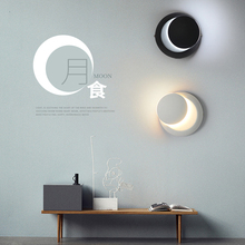 Nordic LED Rotatable Black White Moon Wall Lights Lighting Retro Indoor Loft Aisle Corridor Decor Lamp Bedroom Bedside Luminaire
