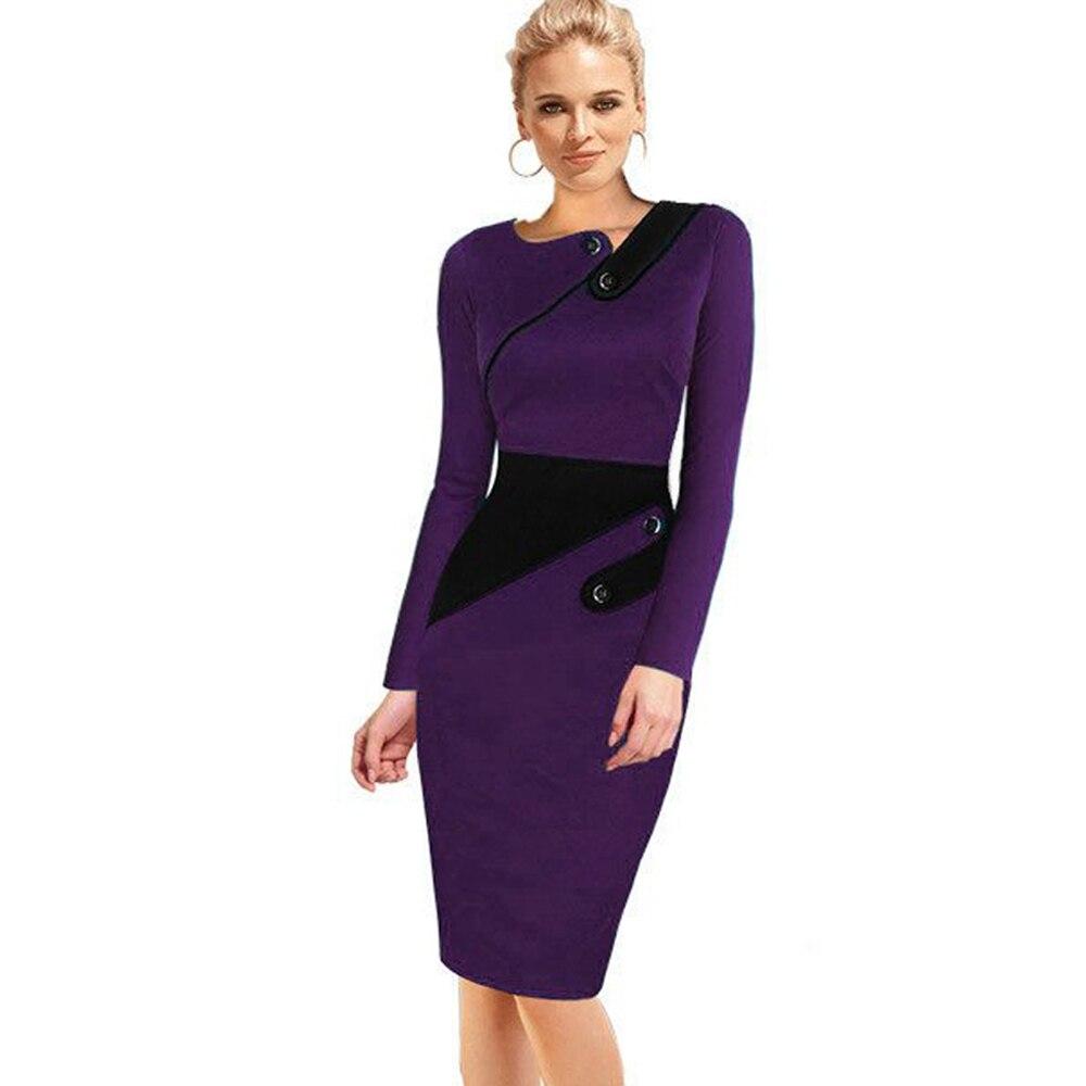 Черное платье туника для женщин Формальная работа Офис Оболочка Лоскутная линия Асимметричная шея длина до колена размера плюс карандаш платье B63 B231 - Цвет: Purple