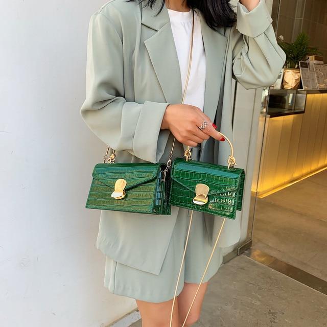 Sacs à bandoulière en cuir d'unité centrale de modèle de pierre pour des femmes 2020 Mini sac de messager d'épaule avec la poignée en métal fourre-tout de voyage de dame 3