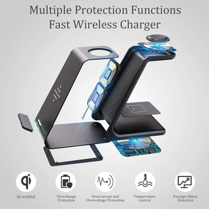 Image 5 - 15W Wireless Charger QI 3 in 1 Wireless Charging Station For Samsung Galaxy S20 S10 S9 Buds+ Watch Active2/1 iPhone 12/11/X/8