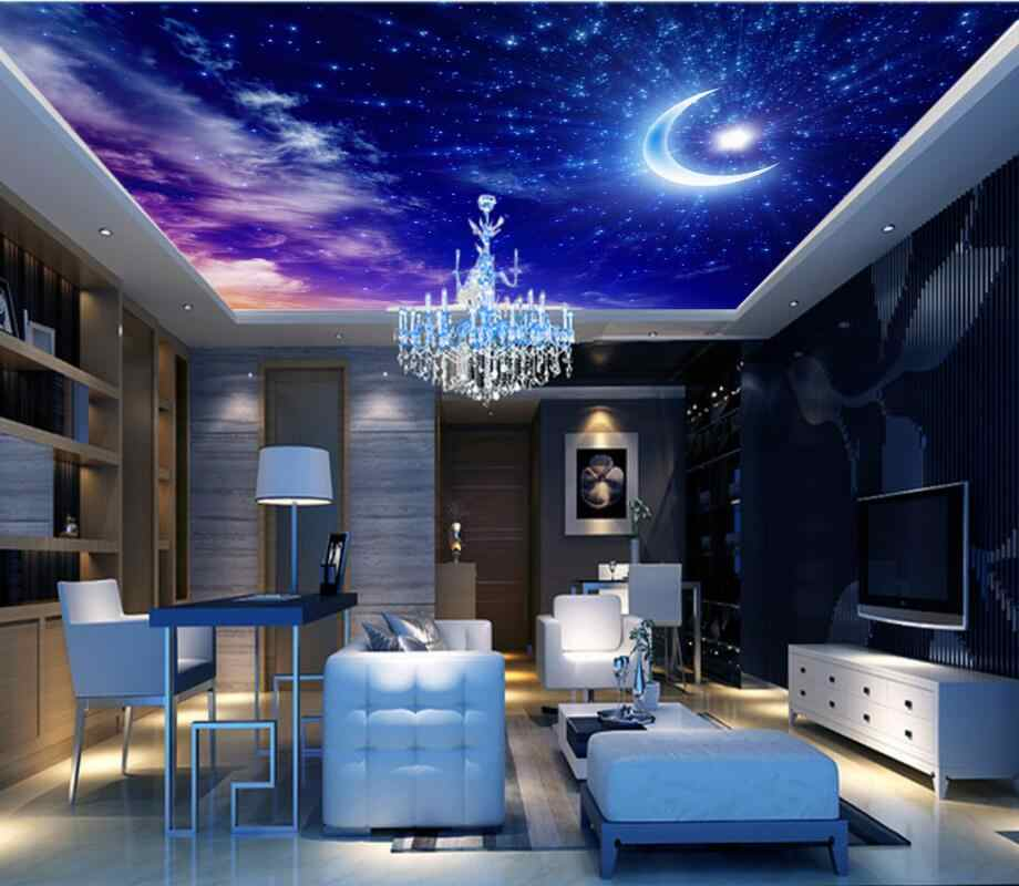 3d ceiling murals wallpaper Beautiful dream starry sky moon white clouds living room zenith ceiling