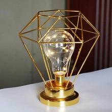 Iron Geometric USB Lamp Decoration Creative Metal Candlestick Retro LED Light Ornament Desktop DIY Home Figurine Decor Crafts