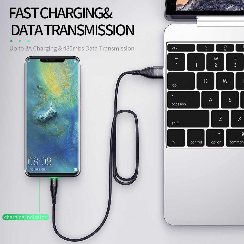 Ykz 3A LED USB Tipe C Kabel Pengisian Cepat Kabel Data Charger Kabel untuk Samsung Galaxy S8 S9 PLUS xiaomi Huawei USB C Line