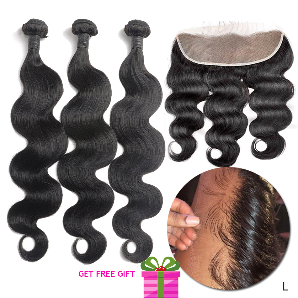 Remy Body Wave Real Human Hair Bundles With Frontal 13x4 Peruvian Hair Weave 3 Bundles With Frontal Sew In Pre Plucked Low Ratio