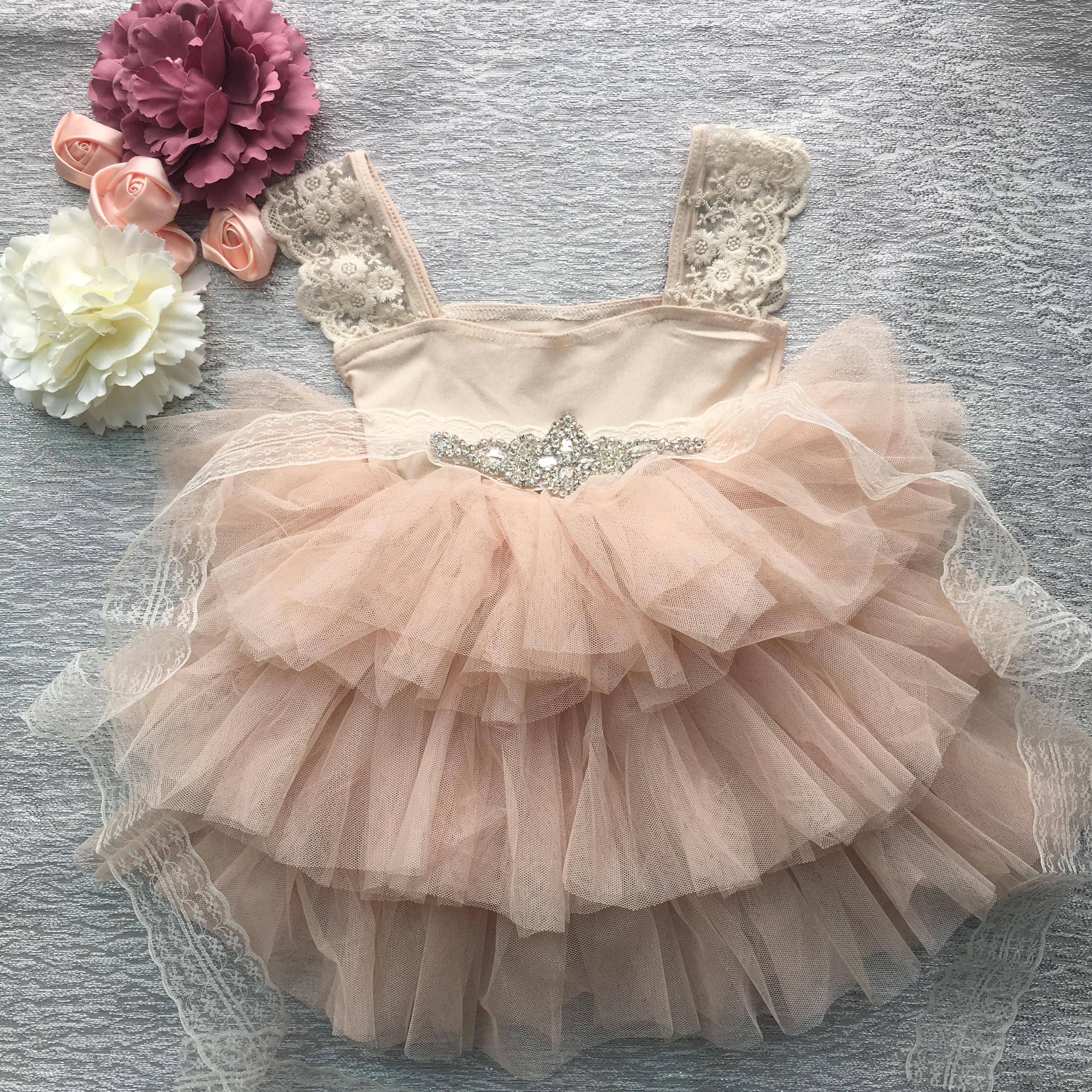 Retail Gorgeous Rhinestone Sashes Girl Evening Dress Baby Girl Lace Sling Princess Tutu Dress Kids Formal Costume 1