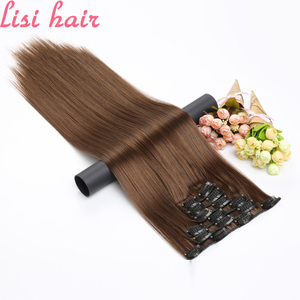 LISI HAIR 16 Clip In Hair Extensions Synthetic Long Straight Hair Clips For Women Pure Color High Temperature Fiber