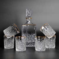 High quality 7pcs a set glass wine bottle luxury gold rim drink glass Party Brandy Snifters Beer Steins drinking Cocktail Glass