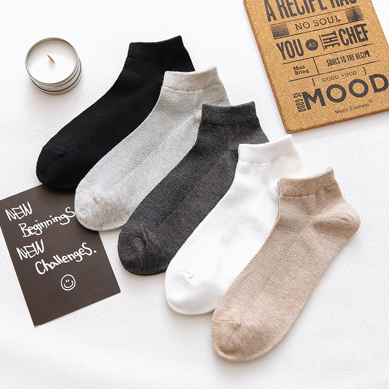 Japanese New Pure Color Mens Socks Business Grid Mesh Happy Ankle Socks Men Cotton Spring Summer Alcetines Meias B0049