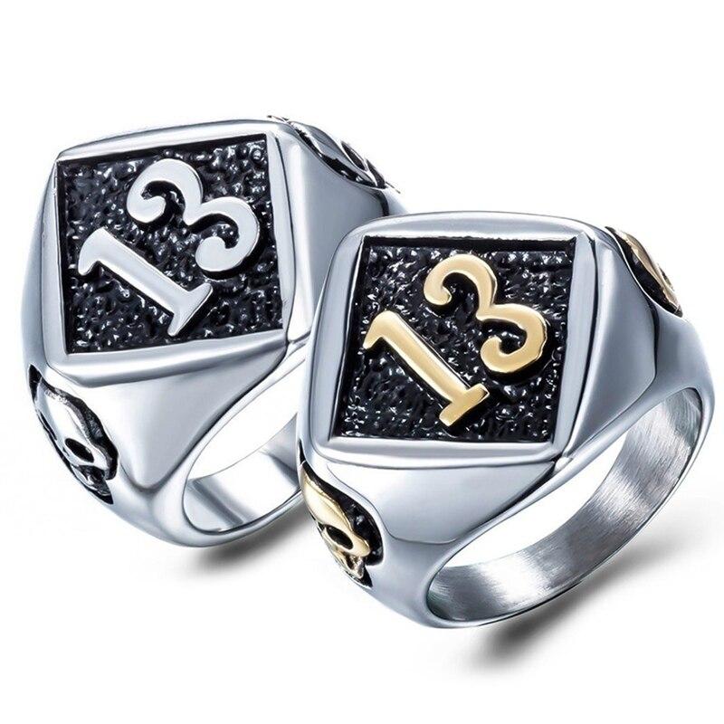 Байкерское кольцо с черепом, из нержавеющей стали, Размер 7-13