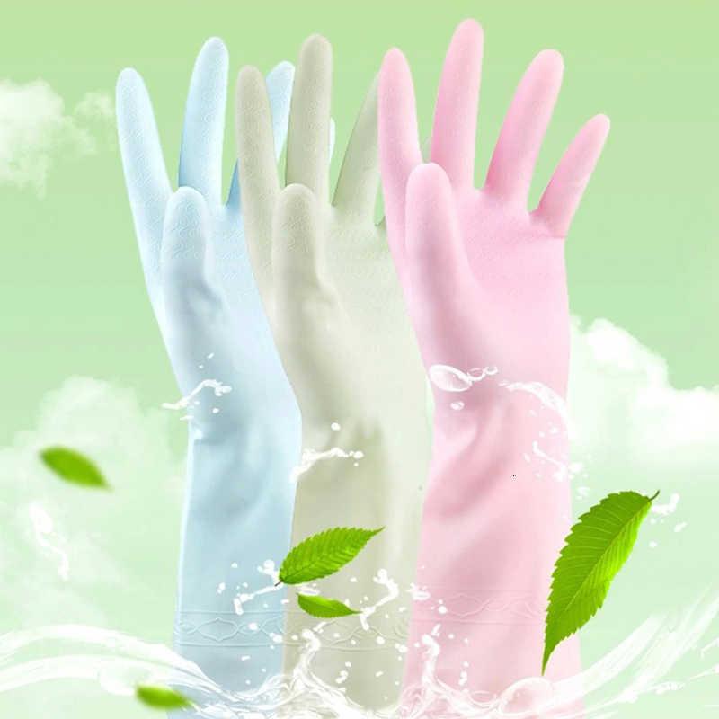 Kitchen Garden ถุงมือ Tea Tree น้ำมันยางหนังล้างจานซักผ้าทำความสะอาดกันน้ำการเรียงลำดับขยะถุงมือ