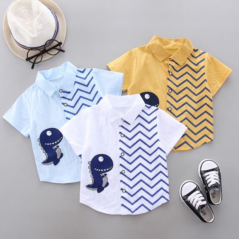 2020 Summer Kids Shirts  Boys Girls Short Sleeve Dinosaur Print Shirts Kids Clothes Casual Cotton Shirts Children's Tops