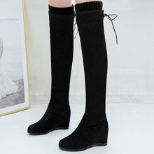 zapatos de mujer shoes woman new fashion boots Women's Lace-Up Knee High Boots Wedges Ladies Shoes Casual Over-The-Knee Booties(China)