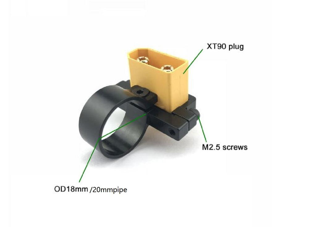 CNC Amass XT90 Male/Female Power Plug Fixing Component Oxidized Black Fixture Mounting Holder 18mm Tube Inner Diameter
