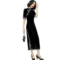 Sheng Coco noir velours Cheongsam à manches longues vêtements femme robe traditionnelle chinoise robes de soirée soirée treillis longue Qipao