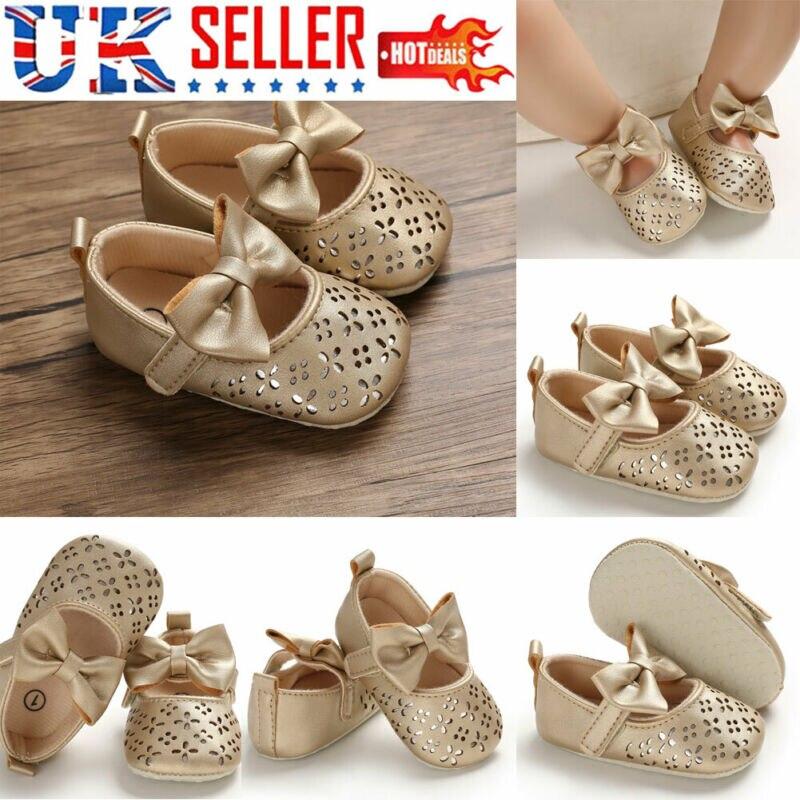 Newborn Baby Toddler Girl Princess Bow Crib Shoes Pram Soft Sole Prewalker Anti-slip Sneakers