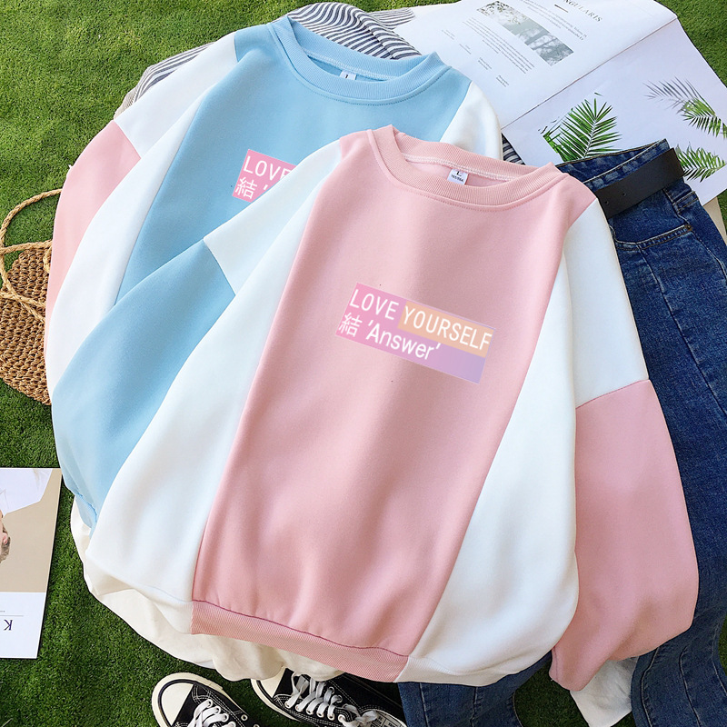 BTS New Album LOVE Yourself Knot Answer Related Products Mixed Colors Velvet Hoodie Women's Winter Style Loose Tops