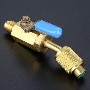 """Image 3 - 3 pièces robinet à tournant sphérique droit 1/4 """"adaptateur pivotant SAE pour R134a R410a R12 réfrigérant Auto climatisation outils de réfrigération"""