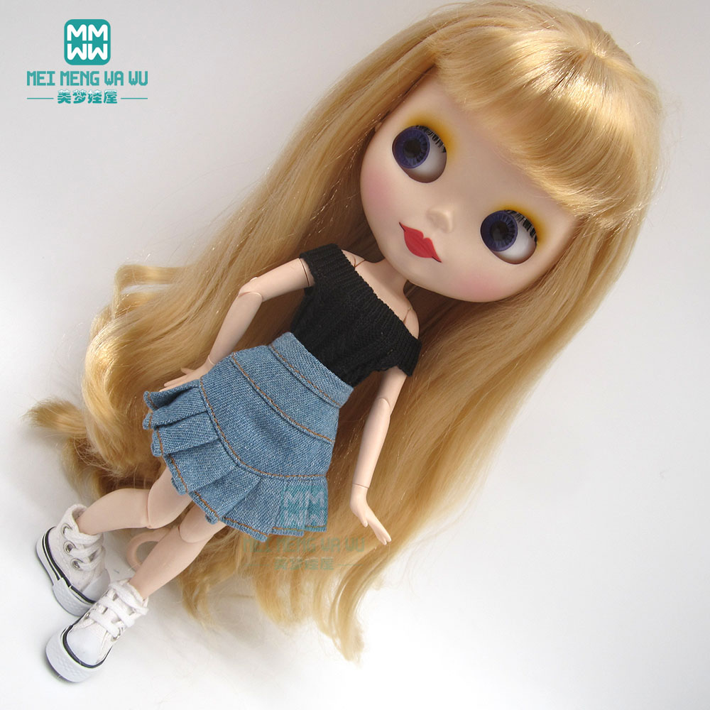 Blyth Accessories Doll Clothes Sweater + Denim Skirt + Sneakers For Blyth Azone1/6 Doll