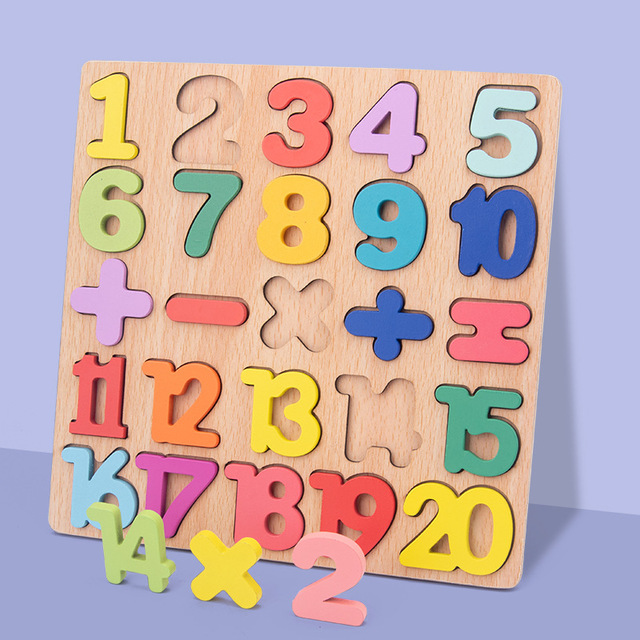 New Wooden 3D Puzzle Toy Kids English Alphabet Number Cognitive Matching Board Baby Early Educational Learning Toys for Children 3