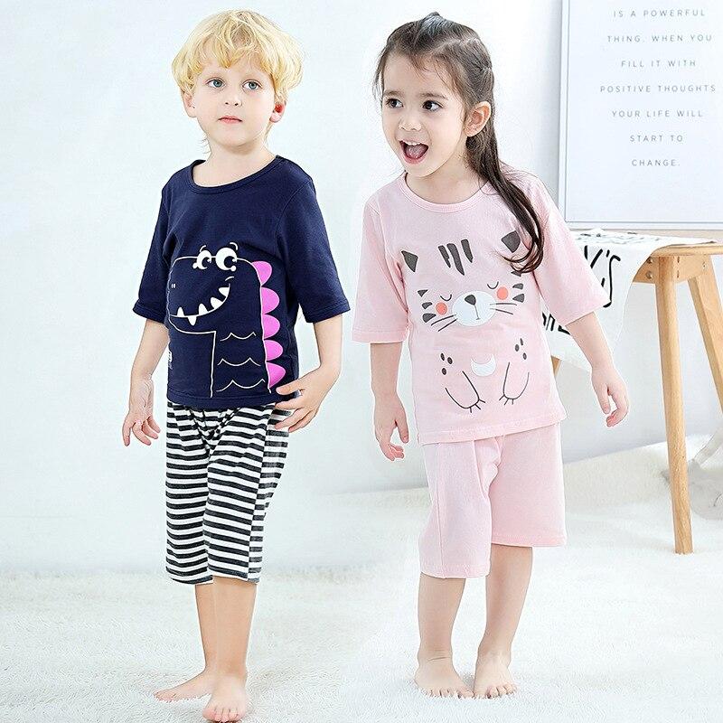 Summer Children's Pajamas Half-sleeve Pyjamas Kids T-shirt+Pants 2pcs Cartoon Pajamas For Girl Boys Baby Sleepwear Nightwear