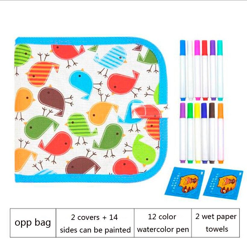 Learning & Education Toy , Kid Portable Board Brush Drawing Book DIY Coloring Blackboard Water Chalk Wipe Painting Board