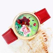 Women Dress Watches Rhinestone Bright-Leather Casual-Wristwatch Rose-Gold Lady Flower