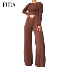 FUDA Casual Two Pieces Sets Long Sleeve O-neck Top and Elegant Spaghetti Strap Loose Jumpsuits Fashion Femme Wide Leg Playsuits wuhe women fashion o neck short sleeve long swing top and slim pants summer casual two pieces sets playsuits combinaison femme