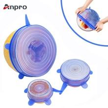 Anpro, 6 шт., универсальные многоразовые силиконовые растягивающиеся крышки, пищевая упаковка, силиконовая крышка для кухонной посуды, миски, кастрюли, кулинарные кухонные принадлежности
