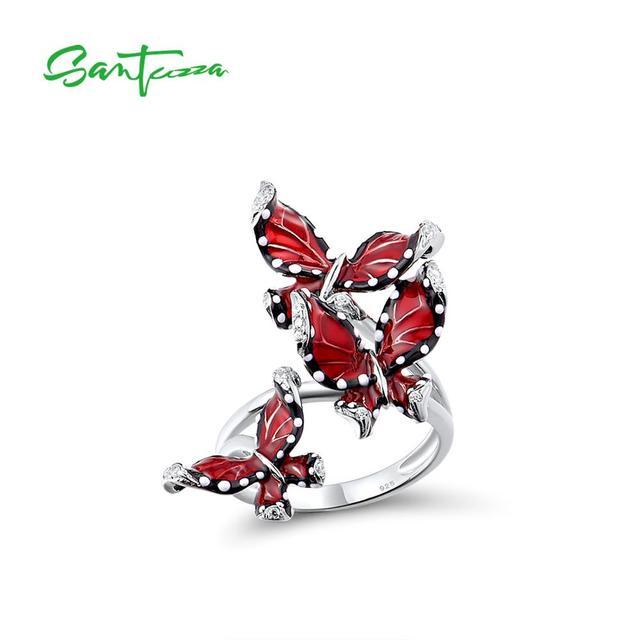 SANTUZZA Silver Ring For Women Genuine 100% 925 Sterling Silver Red Butterflies Trendy Fashion Jewelry Handmade Enamel