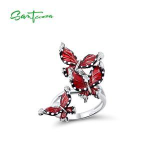Image 1 - SANTUZZA srebrny pierścień dla kobiet oryginalna 100% 925 Sterling srebrny czerwony motyle Trendy biżuteria Handmade emalia