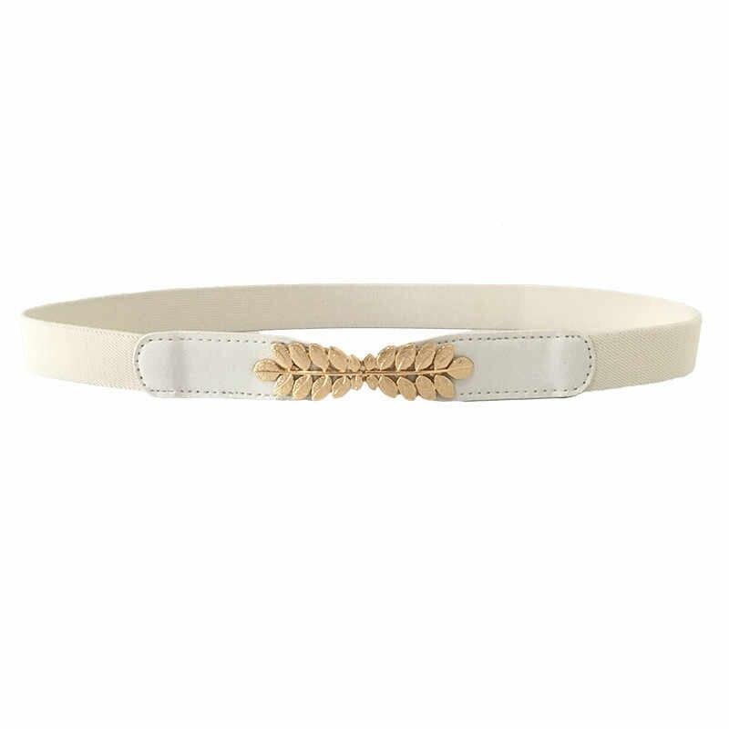 גמישות גבוהה בד חגורות לנשים שמלות זהב עלים מתכת אבזם חגורות נשי חגורות נשים אופנה חמה אלסטי חגורות