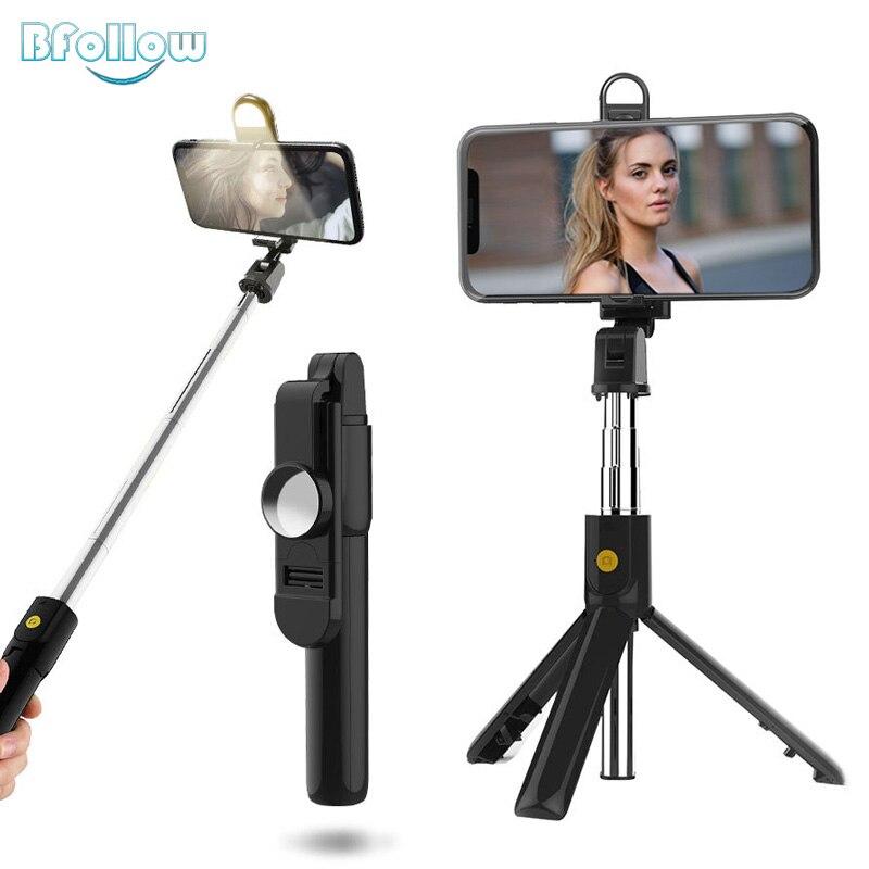 BFOLLOW 4 in1 Stativ Selfie Stick mit Füllen Licht Drahtlose Bluetooth Spiegel für Handy iPhone Youtube Tiktok Video Vlog