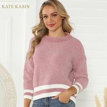 Kate Kasin Sweater Jumpers Women's Casual Round Ne