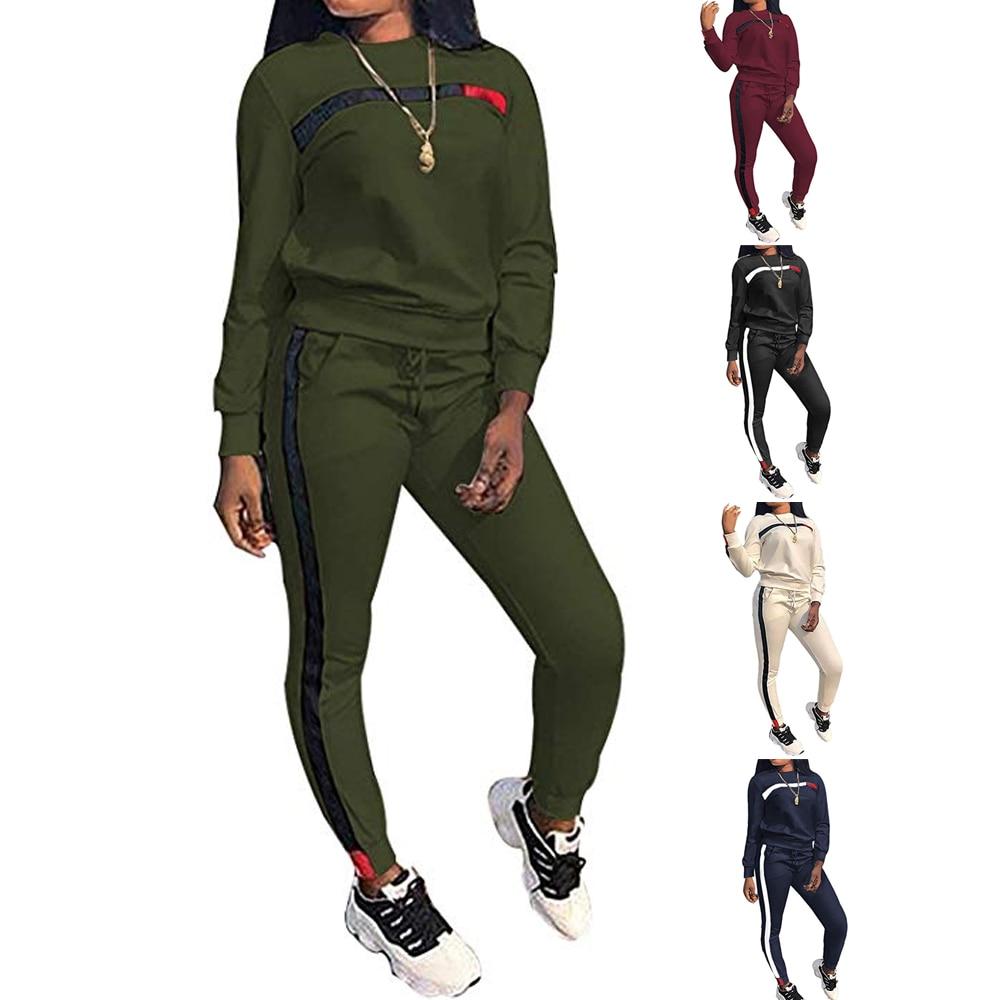 Женский спортивный костюм на завязках, толстовка с капюшоном и штаны, 2 предмета, весна-осень 2020