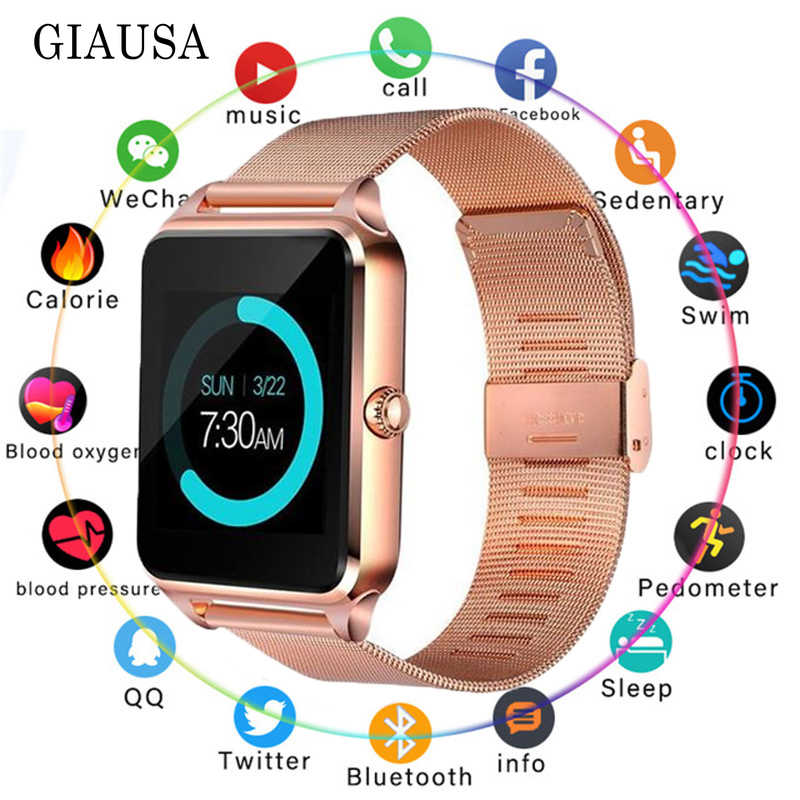 Montre intelligente GT08 Plus bracelet en métal Bluetooth poignet Smartwatch Support Sim TF carte Android et IOS montre multi-langues PK S8 Z60