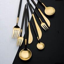 Set de couverts en acier couverts en or cuillère en acier inoxydable vaisselle fourchette cuillère vaisselle cuisine cuillère et fourchette ensemble vaisselle