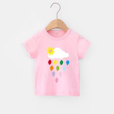 VIDMID Children Summer Clothing Girls Short Sleeve Tees Tops Clothes Kids Cartoon Print T-shirt Baby girl cotton T-shirt 4018 04 4