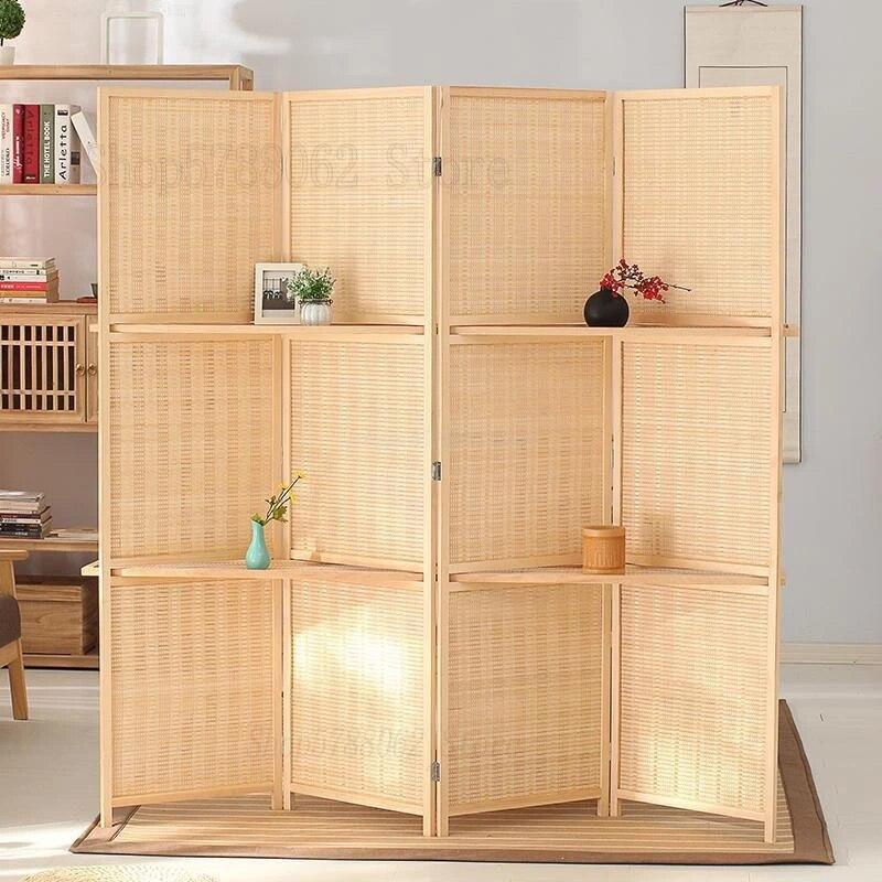 paravent de separation de piece pliant en bambou a 4 panneaux avec etageres de rangement amovibles