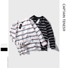 Mens Long sleeves Cotton SimpleT-shirt Hip-hop Retro Stripe Tee Loose Round Collar Letter