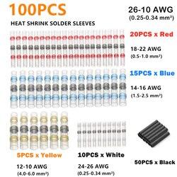 100 sztuk asortyment termokurczliwe złącza przewodów izolowane lutowane rękawy wodoodporne szybkie zaciski Butt i rurka termokurczliwa w Zaciski od Majsterkowanie na